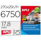 Etiquetas adesivas apli 10197 formato 17.8x10 mm removivel para fotocopia laser tinteiro caixa 25 folhas