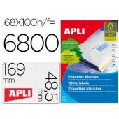 Etiquetas adesivas apli 01282 medidas 48.5x169 mm para fotocopiadora laser tinteiro caixa de 100f dina4 6800 etiq.