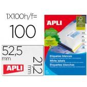 Etiquetas adesivas apli 1284 medidas 52.5 x 21.2 mm para fotocopiadora laser tinteiro caixa com 100 folhas din a4