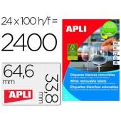 Etiquetas adesivas apli 3056 formato 64.6 x 33.8 mm para fotocopia laser tinteiro caixa com 100 folhas a-4 removivel
