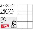 Etiquetas adesivas apli 1276 tamanho 70x42.4 mmmm para -fotocopiadora -laser -tinteiro-caixa com 100 folhas din-a4