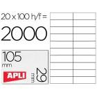 Etiquetas adesivas apli 1299 tamanho 105x29 mmmmm para -fotocopiadora -laser -tinteiro-caixa com 100 folhas din-a4