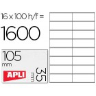 Etiquetas adesivas a4. apli. 105 x 35 mm