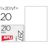 Etiquetas adesivas apli de poliester resistente a intemperie para impressora tinteiro e laser 210x297 mm.