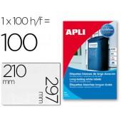 Etiquetas adesivas apli 12121 formato 210x297 mm poliester resistente a interperie impression laser