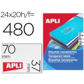 Etiquetas adesivas apli 1224 transparentes formato 70x37 mm para fotocopia laser caixa 20 folhas com 480 etiquetas