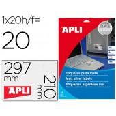 Etiquetas adesivas apli 10071 metalizada formato 210x297 mm para fotocopia laser caixa 20 folhas com 20