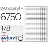 Etiquetas adesivas a4 removiveis. pack de 25. 17.8 x 10 mm