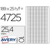 Etiquetas adesivas a4 removiveis. pack de 25. 25.4 x 10 mm