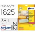 Etiquetas adesivas avery din a4 imprimiveis transparente 38.1x21.2 mm caixa de 25 folhas com 1625 etiquetas