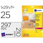 Etiquetas adesivas avery din a4 imprimiveis transparente 210x297 mm caixa de 25 folhas com 25 etiquetas