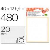 Etiquetas adesivas liderpapel 10 + 2 folhas. 10x20 mm. 420 etiq.