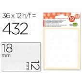 Etiquetas adesivas liderpapel 10 + 2 folhas. 12x18 mm. 432 etiq.