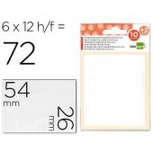 Etiquetas adesivas liderpapel 10 + 2 folhas. 26x54 mm. 72 etiq.