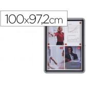 Vitrina de anuncios nobo mural magnetica de exterior din a4 con puerta y marco con cerradura de aluminio 100x97 cm