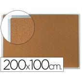 Quadro de cortica q-connect caixilho de aluminio 200x100cm extra cortica 5 mm