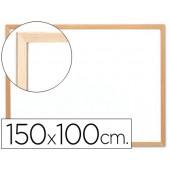 Quadro branco q-connect laminado caixilho de madeira 100x150 cm