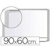Quadro branco bi-office magnetica mastervision vitrificada moldura de aluminio branco 90 x 60 cm com bandeja para acessorios