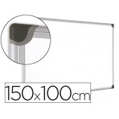 Quadro branco bi-office magnetica maya w ceramica vitrificada moldura de aluminio 150 x 100 cm com bandeja para acessorios