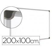 Quadro branco bi-office magnetica maya w ceramica vitrificada moldura de aluminio 200 x 100 cm com bandeja para acessorios