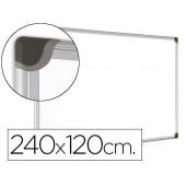 Quadro branco bi-office magnetica maya w ceramica vitrificada moldura de aluminio 240 x 120 cm com bandeja para acessorios