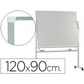 Quadro branco q-connect melamina dupla face-giratorio com rodas 120x90cm