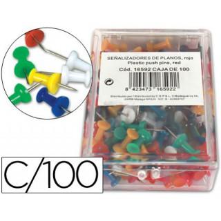 Alfinetes de sinalizacao cores sortidas caixa com 100