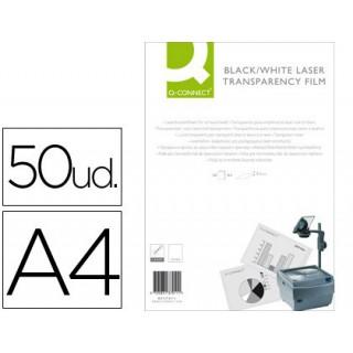 Acetato q-connect a4 para impressao laserpreto e branco caixa com 50 unidades