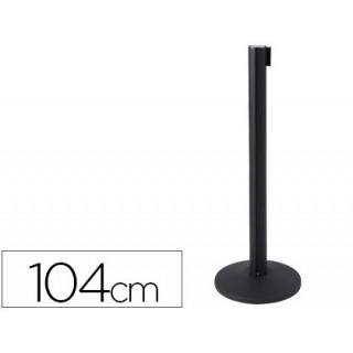 Poste de plastico preto de 1040 mm com fita retractil 2 mt com base de 360mm de diametro