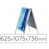 Cavalete para poster jensen display aluminio dupla face din a1 moldura de 25 mm com cantos 625 x 1075 x 736 mm