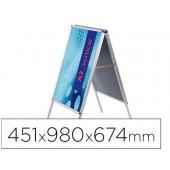 Cavalete para poster jensen display aluminio dupla face din a2 moldura de 25 mm com cantos 451 x 980 x 674 mm