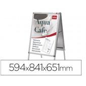 Caballete para poster nobo aluminio doble cara din a1 con cantoneras 59.4x84.1x65.1 cm