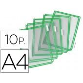 Bolsa para porta catalogo tarifolddin a4 com pivots verde pack de 10 unidades