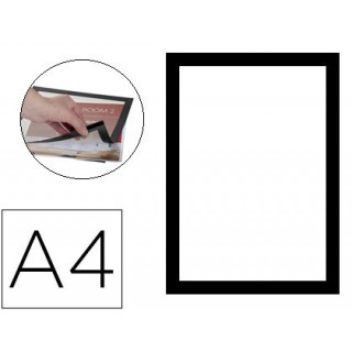 Moldura porta anuncios q-connect magnetica din a4 dorso adesivo removivel cor preto pack de 2 unidades