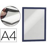 Moldura porta anuncios durable magnetico din a4 dorso adesivo removivel cor azul pack de 2 unidades