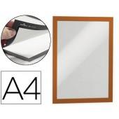 Moldura porta anuncios durable magnetico din a4 dorso adesivo removivel cor laranja pack de 2 unidades