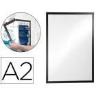 Moldura porta anuncios durable magnetico din a2 dorso adesivo removivel cor preto 639x465 mm