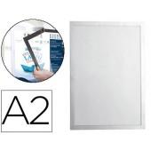 Moldura porta anuncios durable magnetico din a2 dorso adesivo removivel cor prata 639x465 mm