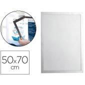 Moldura porta anuncios durable magnetico 50x70 cm dorso adesivo removivel cor prata