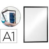 Moldura porta anuncios durable magnetico din a1 dorso adesivo removivel cor preto 886x639 mm