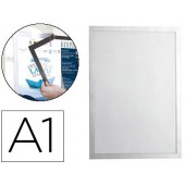 Moldura porta anuncios durable magnetico din a1 dorso adesivo removivel cor prata 886x639 mm