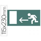 Etiqueta adesiva apli de sinalizacao indicador esquerda porta saida 115x230 mm