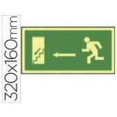 Pictograma syssa sinal de saida emergencia esquerda escada descer em pvc fotoluminescente 320x160 mm