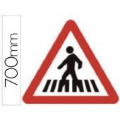 Pictograma syssa sinal de passagem para peoes em aço galvanizado 700 mm