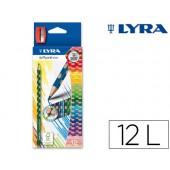 Lapis de cores lyra groove slim triangular minas de 3.3 mm caixa de 12 cores + apara lapis