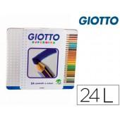 Lapis de cores giotto supermina caixa metalica 24 cores minas 3.8 mm