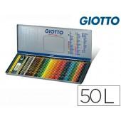 Lapis de cores giotto supermina caixa metalica 50 cores minas 3.8 mm