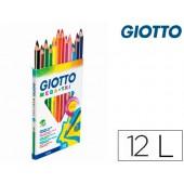 Lapis de cores giotto megatri caixa de 12 cores mina 5.5mm