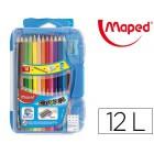 Lapis de cores maped color peps de 12 cores com borracha e apara lapis caixa inteligente