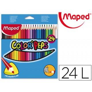 Lapis de cores maped color peps triangulares caixa 24 unidades